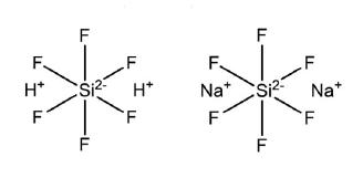 Molecular structure of Hexafluorosilicic acid (sodium-fluorosilicate)