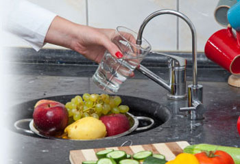 Kitchen sink filtered water tap.