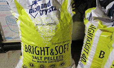 Bags of water softener salt.