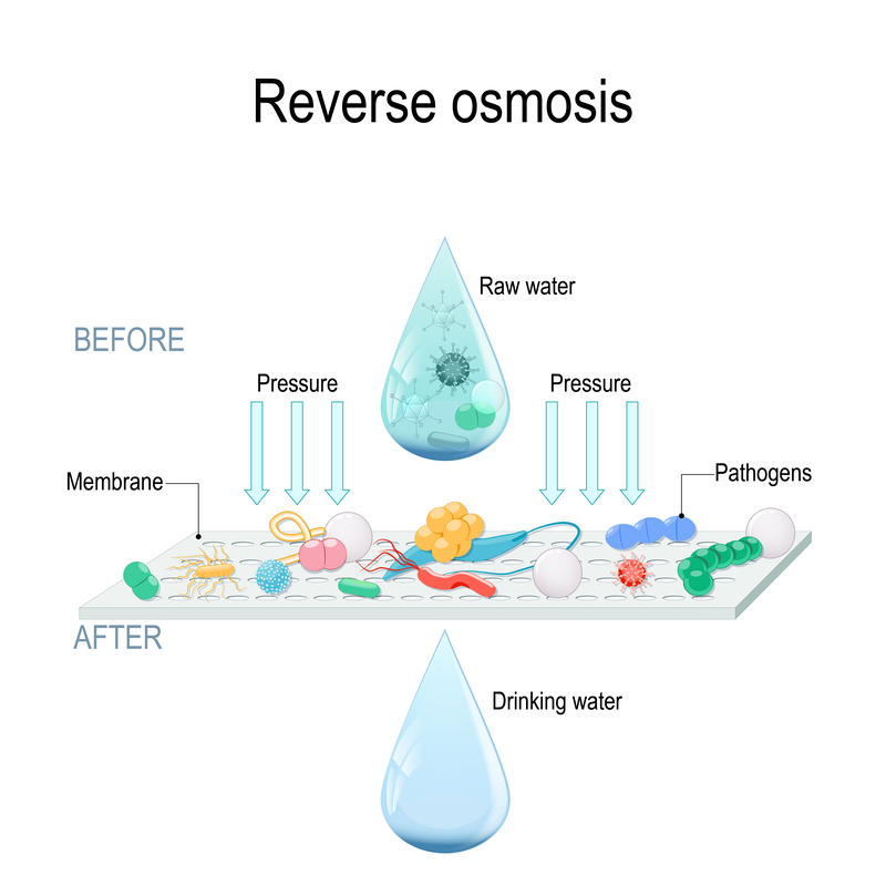 Graphic showing contaminants Removed by Roverse Osmosis.