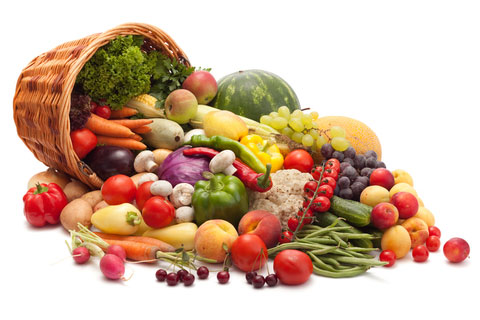 A big basket filled with various nutrient-rich, colorful fruits and vegetables.